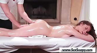 Oiled Massage table sex
