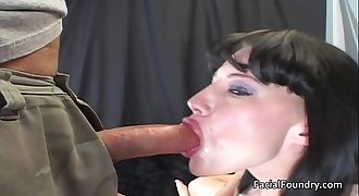 Watering eyes after gagging on big shaft