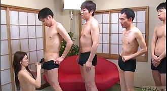 Subtitled Japanese AV starlet Mona Takei blowjob lineup