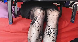 Voyeur perving the Stockings Pantyhose Femdom Taunt