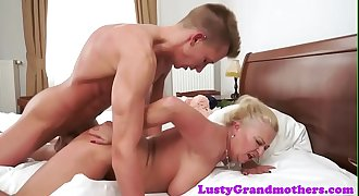 Busty amateur granny banged hard by youthful guy
