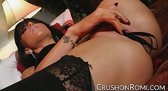 Crush Girls - Romi Rain stuffs her panties in her beaver