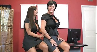 Lisa Ann & Shay Fox suck black cock