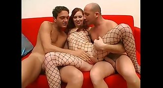 Threesome for this youthfull bitch in a fishnet