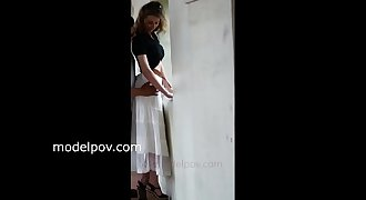 Oxana Russian model shoots with modelpov modelpovs outside in skirts public flashing white panties teasing my cock