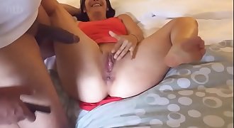 Hubby filmed his wife string up a black cock