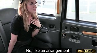 Blonde petite pays lovemaking to the driver for the taxi ride