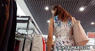 Redhead girl upskirt