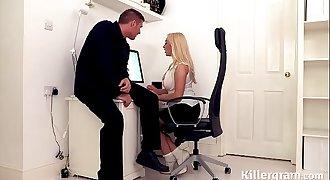 Hot big boos blonde secretary fucks big cock stud