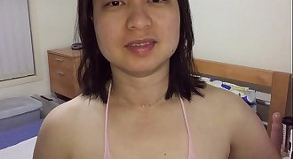 Asian MILF - Beaver Playing For XVideos Fans in Pink Body Stockings