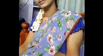 Hot chennai wife chitra saree show her husband