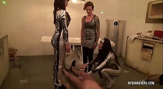 Ballbusting: android women (Nyssa Nevers, Emily Addison and Harrietta Buch) built only for sex castrated Dr. Andrestein (Andrea Dipre')! (preview)