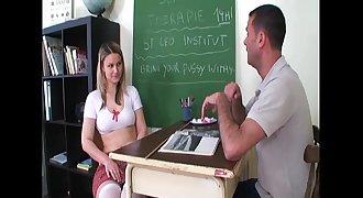 Enslaved schoolgirl shows her boobs to the teacher