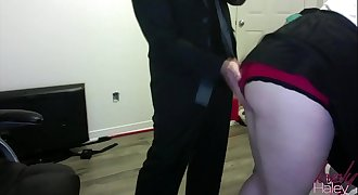 Secretary Haley gets spanked,tied up and gets her mouth fucked to keep job Added