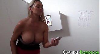 Busty slut sucking bbc