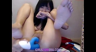Very cute asian teenage assfuck and pussy masturbation (dildo, amateur, webcam)