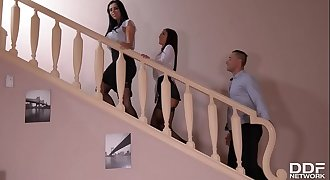 A Maid's Desire: Foot Fetish Threesome With Two Leggy Babes