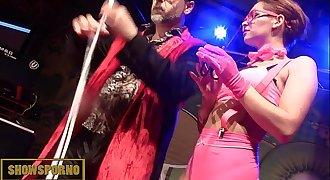 Magic hookup trick on stage