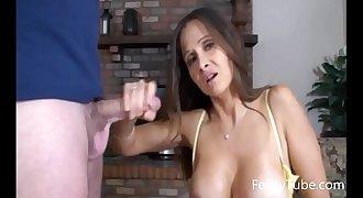 HotWifeRio Stepmom catches son jerking off