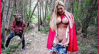BANGBROS - Chesty Blonde Lexi Lowe Runs Into The Big Bad Wolf In The Woods!