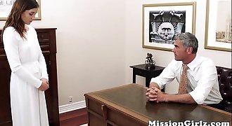 Mormon elder inspects virgin cunt before fingerfucking her