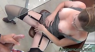 sexy secretary gives a blowjob