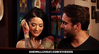 SheWillCheat - Tatted Wife Cheats On Old  Hubby With Young Cock