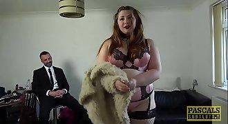 Submissive BBW Estella Bathory grimaced by Pascals cock